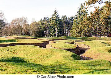campo batalha, vimy, cume, trenches, crateras