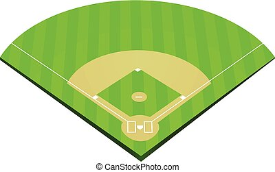 campo, beisball, vector