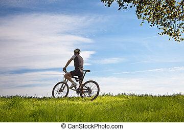 campo, bicicleta, hombre