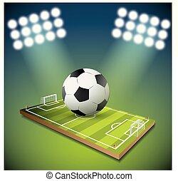 campo, bola futebol, luz estádio