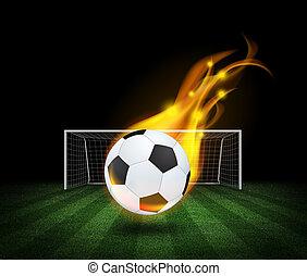 campo, bola futebol, tocando, inflamável