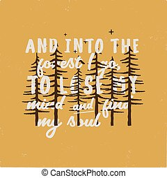 campo, bosque, gráfico, insignia., ir, hallazgo, alma, retro...