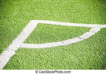campo, branca, futebol, linhas