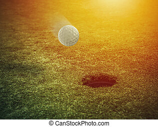 campo, buraco, bola, golfe, capim