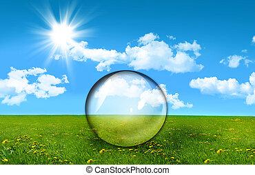 campo, césped alto, vidrio, esfera