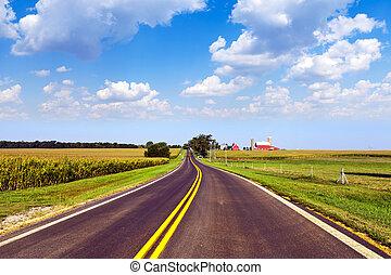 campo, céu azul, estrada