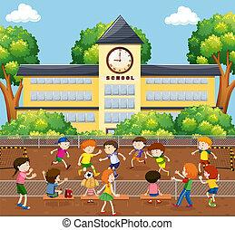 campo, calcio, bambini giocando