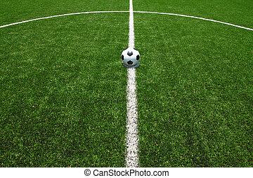 campo calcio, erba, con, palla