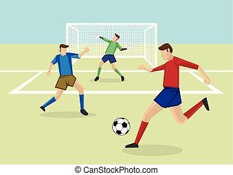 campo, caricatura, goleiro, jogadores futebol, vetorial, ilustração