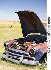 campo, carro abandonado