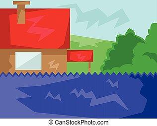campo, casa, vermelho, telhado, vista