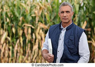 campo, computer portatile, contadino