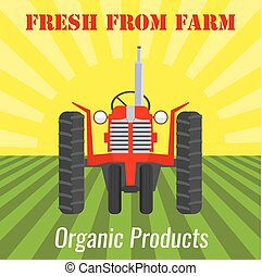campo, con, uno, tractor., appartamento, disegno, paesaggio., cibo organico, concetto