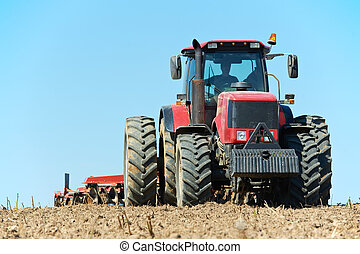 campo, cultivo, trabalho, trator, ploughing