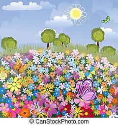 campo de aviación, flor