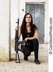 campo de batalla, mujer