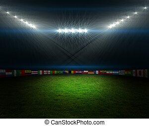 campo de fútbol, con, banderas, y, luces