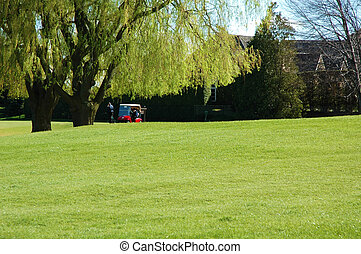 campo de golf, carrito