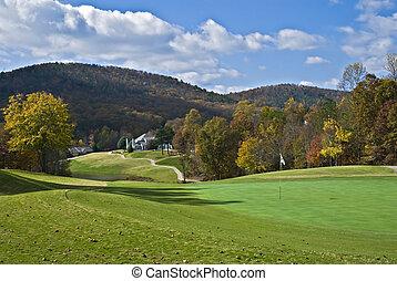 campo de golf, en, otoño