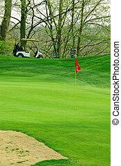 campo de golf, en, primavera