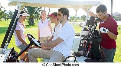 campo de golf, jóvenes, grupo, calesa, campo verde