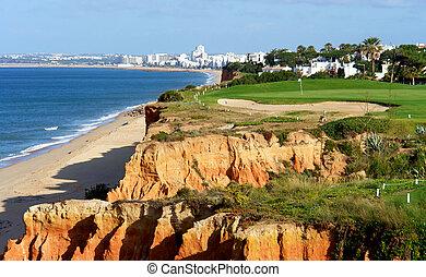 campo de golf, por, el, mar