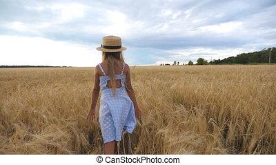 campo de trigo, pequeño, yendo, cebada, sombrero,...