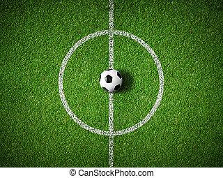 campo del fútbol, centro, y, pelota, punta la vista, plano de fondo