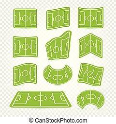 campo del fútbol, mancha, logotipos, conjunto, vacío, estadio, iconos, hierba verde, colección, fútbol, césped, tela, juego, gráficos, elements., patios, vector, illustration.