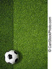 campo del fútbol, y, pelota, punta la vista, plano de fondo
