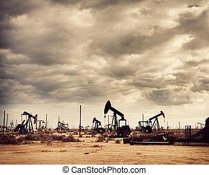 campo, deserto, olio, produzione