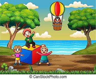campo di gioco, gioco, bambini, felice