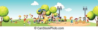 campo di gioco, gioco, giorno, bambini
