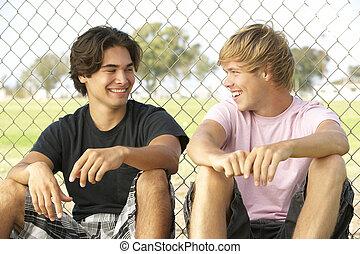 campo di gioco, gruppo, adolescenti, seduta