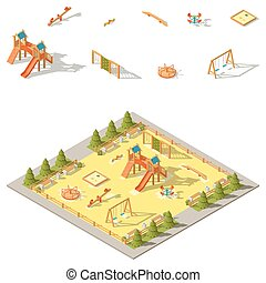 campo di gioco, isometrico, set, bambini, icona