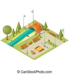 campo di gioco, paesaggio, parco, isometrico, città