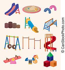 campo di gioco, parco, cartone animato, icona