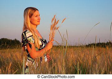 campo, donna, frumento, giovane