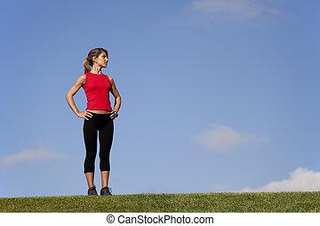 campo, donna, sport