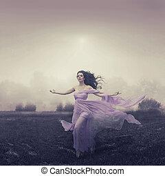 campo, encima, mujer que corre, retrato