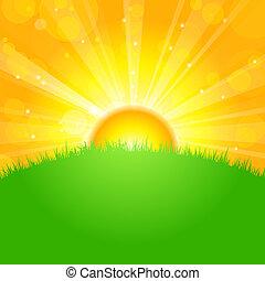campo, encima, salida del sol