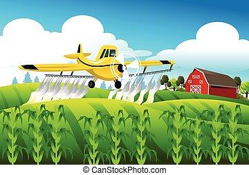 campo, encima, vuelo, duster de cosecha