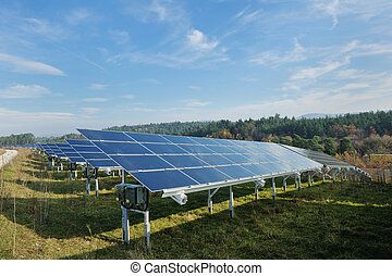 campo, energia, solar, renovável, painel