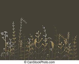campo erba, sfondo nero, fiori selvaggi