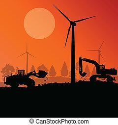 campo, escavador, electricidade, local, ilustração,...