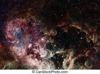 campo, estrella, nebulae, espacio