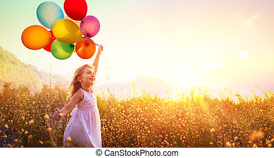 campo, executando, pôr do sol, criança, balões, feliz