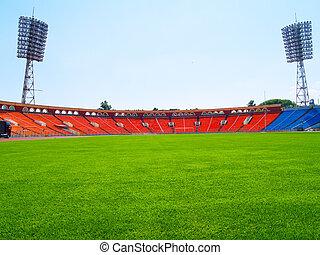 campo, fútbol, vacío, estadio