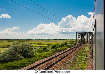 campo, ferrovia, orizzonte, va