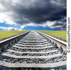 campo, ferrovia, verde, orizzonte